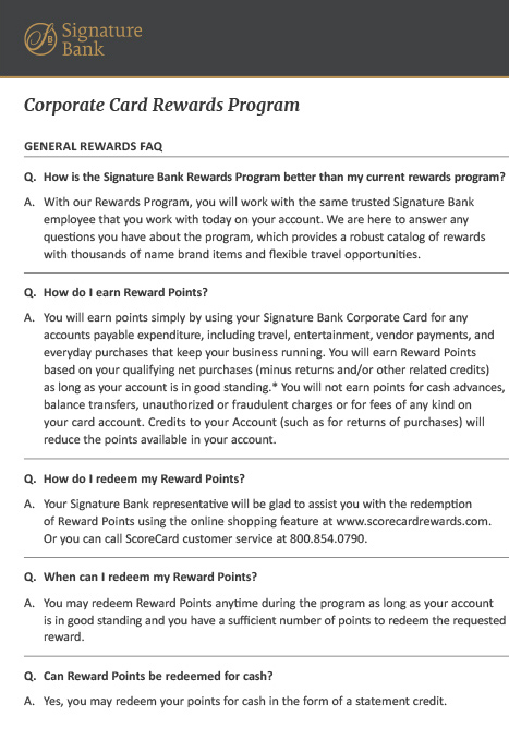 Rewards Program FAQ Brochure
